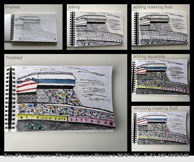 https://flic.kr/p/GAtaeV | In Progress: 17 | 1-Sketch www.flickr.com/photos/116827835@N07/26644271941/in/photos... 2-Inking www.flickr.com/photos/116827835@N07/26106645183/in/photos... 3-Adding Masking Fluid www.flickr.com/photos/116827835@N07/26644271361/in/photos... 4-Adding Aquarelle www.flickr.com/photos/116827835@N07/26437962640/in/photos... 5-Removing Masking Fluid www.flickr.com/photos/116827835@N07/26437962080/in/photos... 6-Finished…