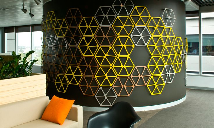 wall idea - this would be GREAT and not difficult to do with nails and string. Bright colors for the string, muted color for the background.