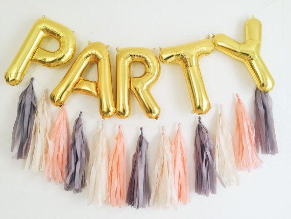 PARTY letter balloons Full Tassel Garland - gold or silver foil mylar letters