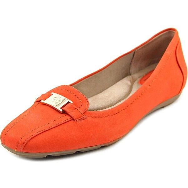 Giani Bernini Jileese Bicycle Toe Synthetic Loafer ($25) ❤ liked on Polyvore featuring shoes, loafers, orange, flats loafers, orange shoes, flat pumps, orange flat shoes and orange flats