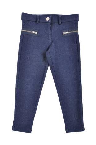 Pantalon elastizado para niña, simulando un jeans, en color azul.