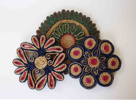 Vintage Trivets Straw Set of Three Different Rattan Green Red Blue Gold Woven Hot Plate Mid Century Eclectic Serving Dish Table Decor on Etsy, $14.50