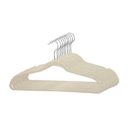 Free Shipping. Buy Velvet Slim Flocked Hangers 120 Pack - Ivory at Walmart.com