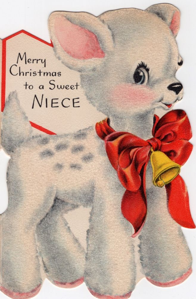 Diecut White Fawn Hallmark Reindeer Deer Flocked VTG Christmas Greeting Card