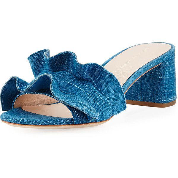 Loeffler Randall Vera Ruffled Denim Mule Sandal (€275) ❤ liked on Polyvore featuring shoes, sandals, indigo, open toe sandals, denim shoes, loeffler randall shoes, indigo sandals and block heel mules