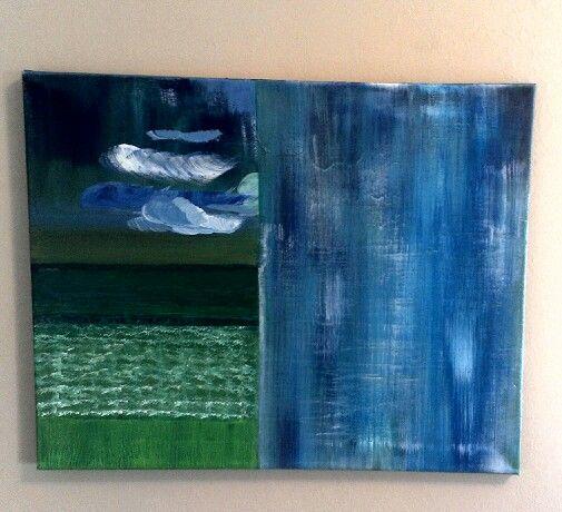 """Rain on the Field"" Acrylic on Canvas Original Abstract Painting -  <div style=""width:150px; font: 11px Verdana, Arial; border: 3px solid #f3f3f3; -moz-border-radius:9px; -webkit-border-radius:9px; border-radius:9px;"">  http://elpaso.en.craigslist.org/art/4567372442.html"
