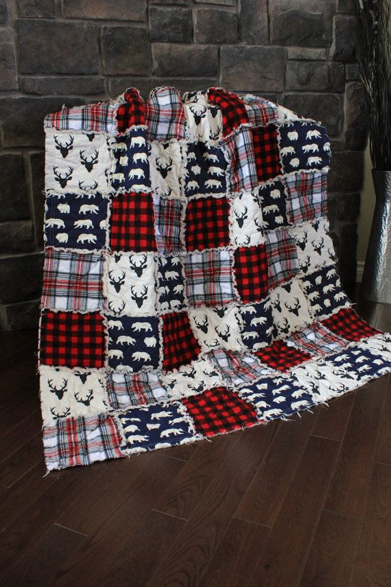 Rag Quilt, Cabin Quilt, Plaid, Deer Throw,Red And Black Plaid, Bear Quilt, Flannel, Large Throw, Navy And Red, Ready To Ship