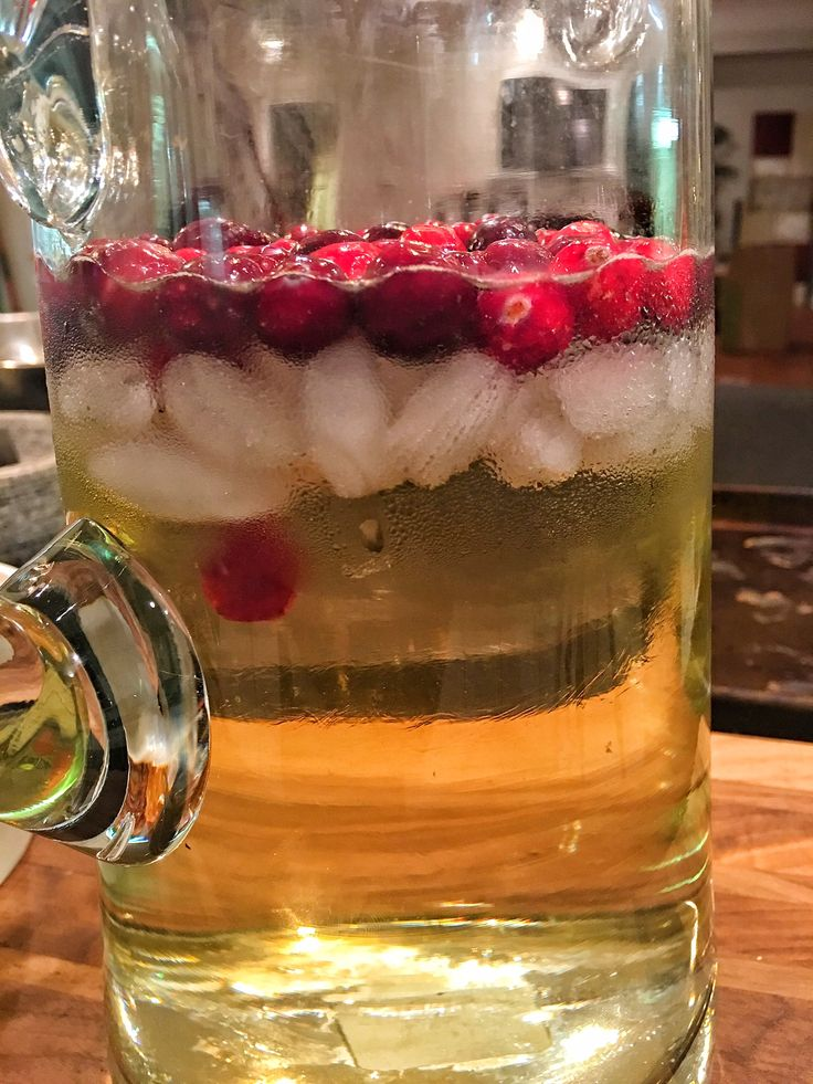 This drink is absolutely perfect for the holidays and uses cranberries in a super fun way! 1 bottle of good white wine (I used Chardonnay) 3 cups of white cranberry juice 2 cups of lemon-lime soda 1 cup of White Hennessy Ice Fresh Cranberries, for garnish Just combine all ingredients in a pitcher and serve while super cold.