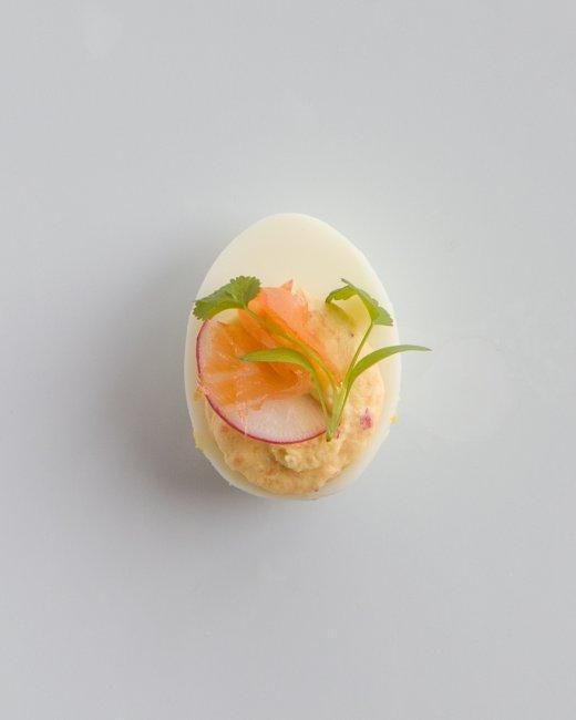 Deviled Eggs // Smoked Salmon-Radish Deviled Eggs Recipe