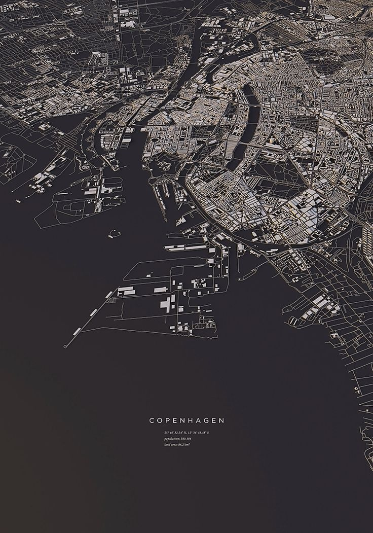 Copenhagen city map Art Print by maptastix