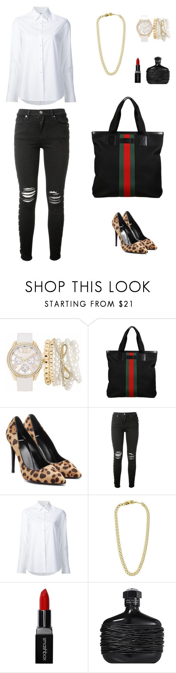 """that simple"" by leina-elansary on Polyvore featuring Mixit, Gucci, Pierre Hardy, AMIRI, Misha Nonoo, Chanel, Smashbox and John Varvatos"