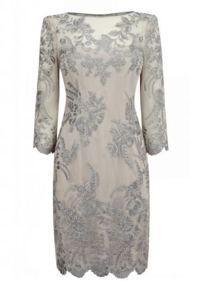 Beautiful Embroidered Round Collar Polyamide Mother of the Bride Dress