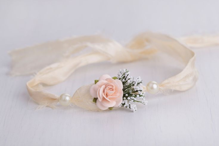 Silky champagne newborn headband, photography prop, baby girl tieback, pearl headband by LReverie on Etsy