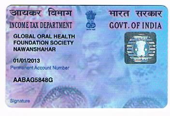 This is the PAN Card of the NGO.