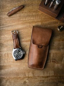 """Handsome Bas and Lokes """"Kingsford"""" vintage tan handcrafted leather watch pouch and matching """"Skyfall"""" leather watch strap. Available at www.basandlokes.com"""
