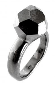 Faceted ring in sterling silver and rhodium plate - $350