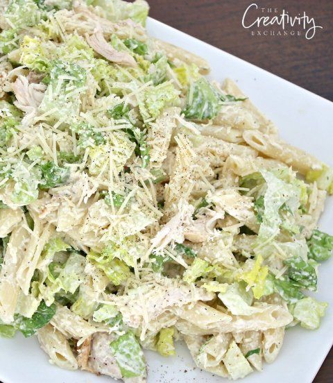 Chicken Caesar Pasta Salad Recipe with Romaine and Penne Pasta.