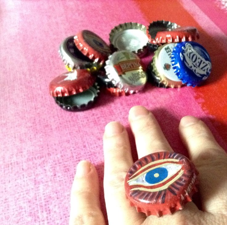 """Beer rings"" anelli hand Made con tappi birra Greca..li trovi su alittlemarket.it #blankaartigianatoresistente"