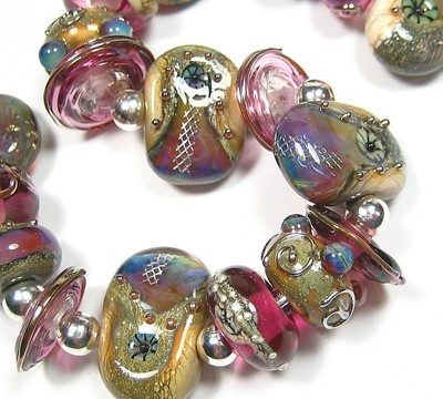 Quinlan Glass Aphrodite's Laced Pools Handmade Lampwork Glass Beads