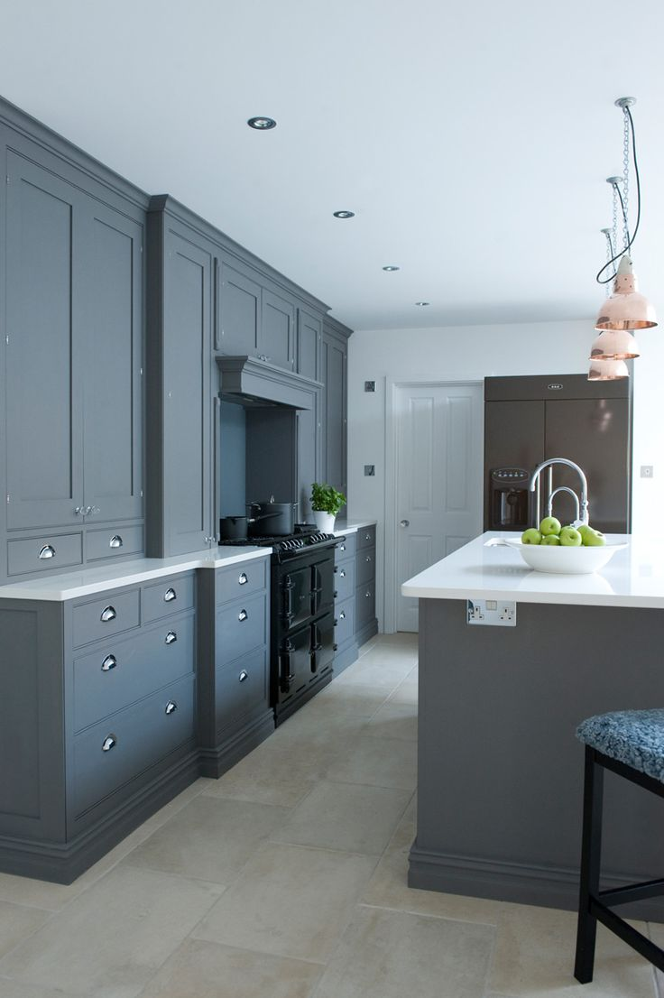 charcoal blue kitchen cupboards with range cooker - Google Search