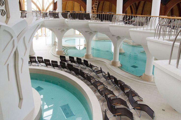 Hagymatikum thermal baths, Makó, Hungary by architect Imre Makovecz - done with swimming pool ceramics by AGROB BUCHTAL