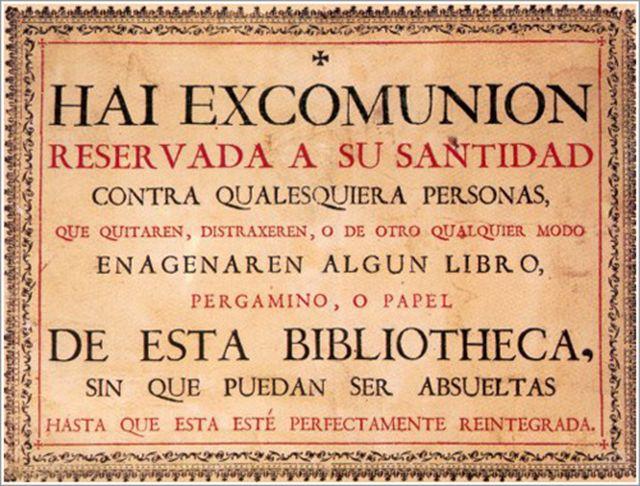 Scomunica di Papa Pio V contro i ladri di libri, Università di Salamanca
