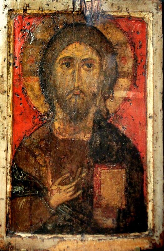 Christ Pantocrator icon,1352, Pskov, Russia, from the cathedral of the Three Saints of the monastery of the Savior and St.Eleazar.