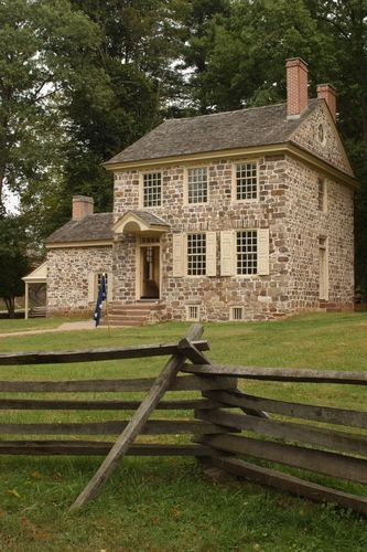 Issac Potts House built in 1774. Lovely stone cottage with a split rail fence in the garden. George Washington rented this house during his stay in Valley Forge. He coordinated daily operations for the entire continental army while staying here.