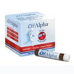 CH Alpha is a liquid containing Bioactive Collagen peptides and a patented compound called Fortigel. Working in a manner similar to collagen in the body, Fortigel is said to help regenerate damaged and worn cartilage in order to build stronger and more flexible joints. While Fortigel is the key active ingredient, CH Alpha also includes Vitamin C, water, and sugar.