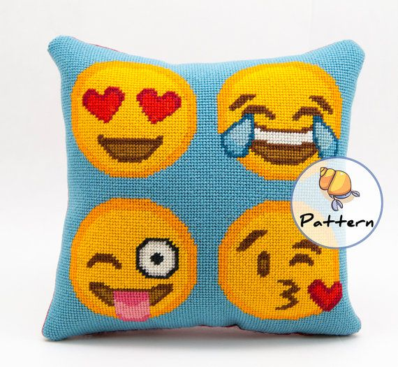 Emoji needlepoint pattern instant download, happy emoji faces, dorm room decor, cross stitch ...