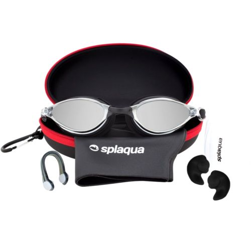 5 Piece Swimming Gear Set: Mirrored Goggles Swim Cap Ear Plugs Nose Clip Case