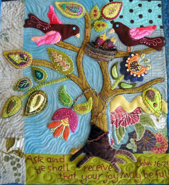 Wool Folk Art Quilt Wallhanging Pattern titled Ask, Believe, Receive Birds and Flowers - So Beautiful