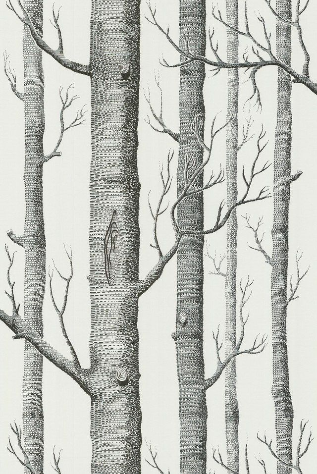 Woods by Cole & Son. cole-and-son.com.- Wallpaper behind fireplace