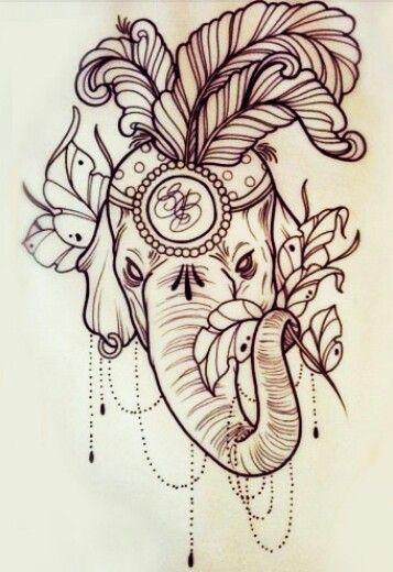 elephant tattoo outline buddhism pinterest tatuajes