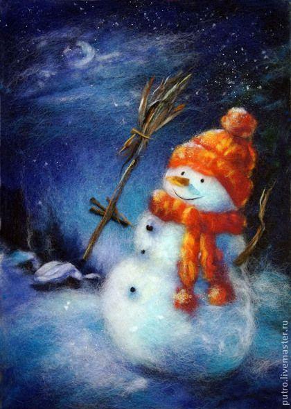 `С Рождеством`!. Картина шерстью, выполнена в технике живопись шерстью, обрамлена в деревянную раму, находится под стеклом. Также картина имеет подробное описание процесса изготовления, оформлена в набор для творчества.