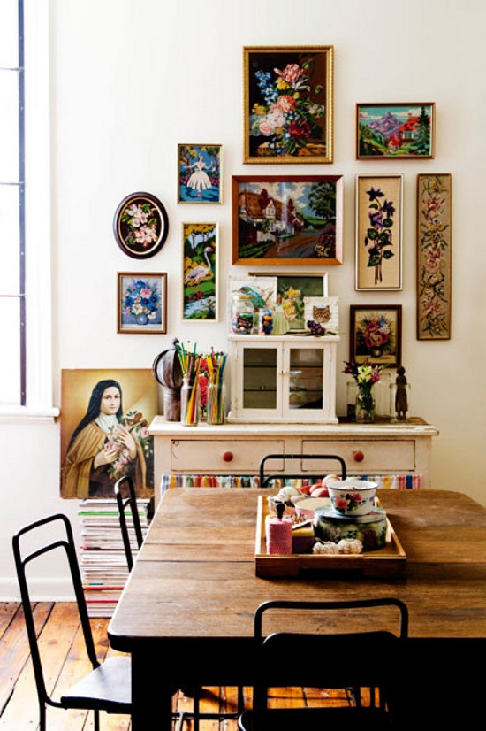 Bring out color in the pictures not in the walls or furniture. I like the idea of putting a table in a bedroom, as one would a desk and chair.