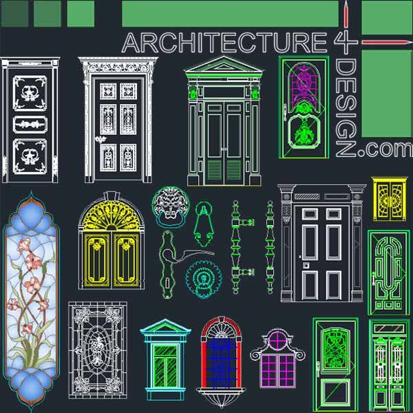7 best door window and decorative hardware designs for Door design autocad