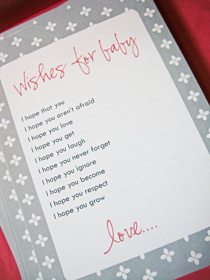 "Seriously Daisies: Pink & Gray Baby Shower {Favors Entrance & Gifts} I hate shower games, but I love these little ""wish for baby"" cards!"