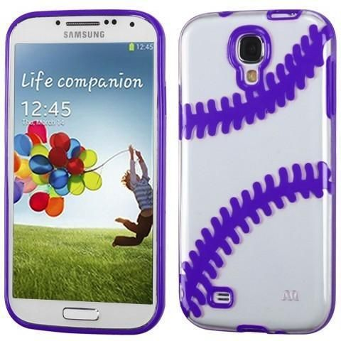 MYBAT Baseball Gummy Cover Galaxy S4 Case - Clear/Purple
