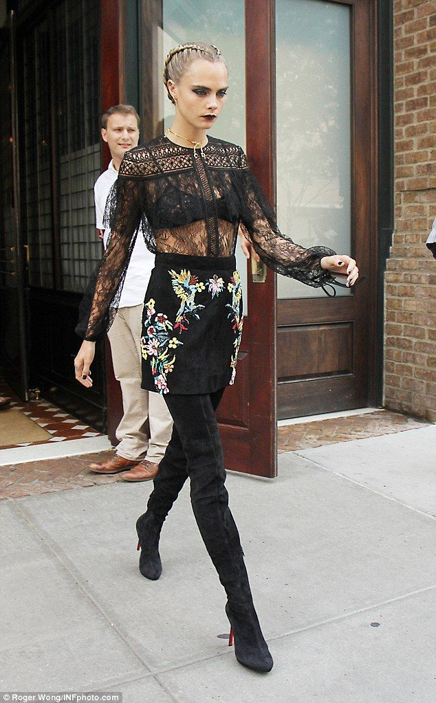 Cara Delevingne flashes bra in sheer lace top as she promotes Suicide Squad in NYC | Daily Mail Online #ZuhairMurad
