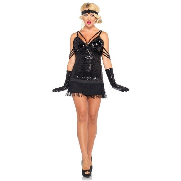 Sexy Glam Flapper Costume for Women ($55) ❤ liked on Polyvore featuring costumes, halloween costumes, multicolor, 1920s costume, sexy costumes, womens snow white costume, roaring twenties costumes and white flapper costume