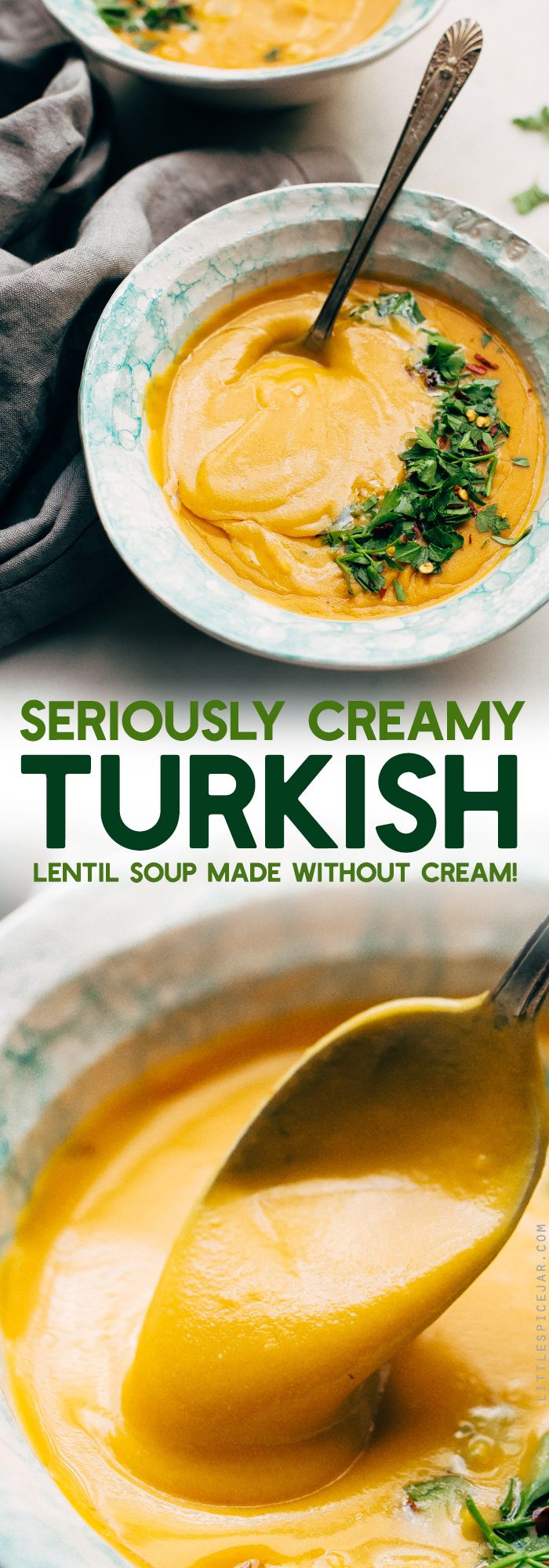 Luxurious Turkish Lentil Soup - 30 minutes to make this creamy soup that contains NO CREAM! Completely vegetarian/vegan friendly and gluten-free! #lentilsoup #splitpeasoup #instantpot #soup | Littlespicejar.com