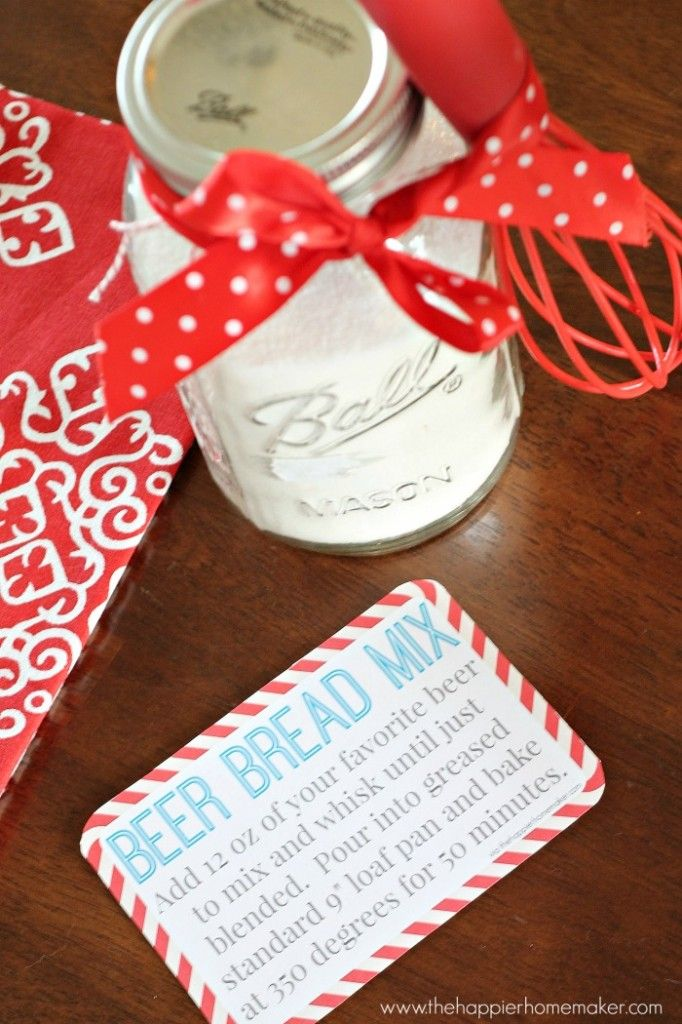 """Easiest DIY Gift Ever: Beer Bread Mix in a Jar All you'll need for this gift are 3 cups of SELF-RISING flour (please don't use all purpose!), 3 tbsp of granulated sugar, and a quart mason jar to put it in! It doesn't quite fill the jar up completely but it works!  I added a little whisk I picked up on sale and a pretty ribbon to mine to """"fancy"""" it up a bit! And I made some printable recipe cards for you to gift with it!"""