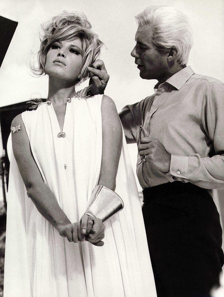 Portrait of Monica Vitti and Dirk Bogarde for Modesty Blaise directed by Joseph Losey, 1966