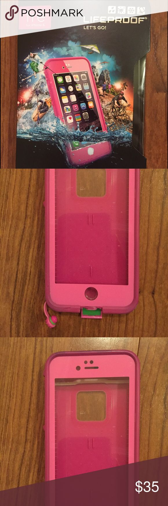 ALL ACCESSORIES - Lifeproof Fre for iPhone 6 Lifeproof Fre for iPhone 6 in hot pink. Has some normal wear, but was only used for a few months because I'm an OtterBox girl. Case is in the box with the original accessories, the cleaning cloth and the headphone adaptor. Plastic cover over the screen also admits that it is not brand new, but again, the case is in good condition. Some scuffs on the back (see photo). Water proof. Dirt proof. Snow proof. Shock proof. LifeProof Accessories Phone…