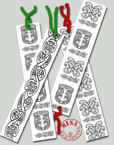 Activité Nouvelle Zélande - des marques pages à imprimer et colorier. Maori Bookmarks to Make and Colour