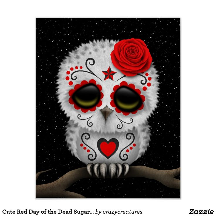 Cute Red Day of the Dead Sugar Skull Owl Stars Posters