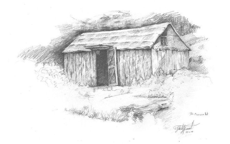 Old Manson Hut, Kaweka Ranges, NZ. Drawn en plein air by Felicity Deverell. The Art of a Hut Collection