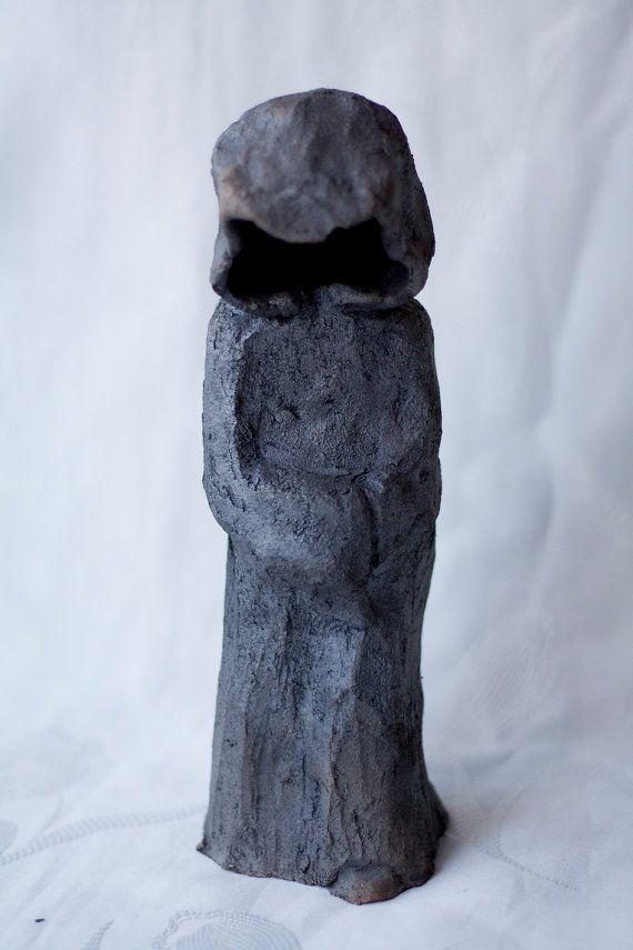 Monk ceramic sculpture raku black handmade OOAK by ClayLadyArt
