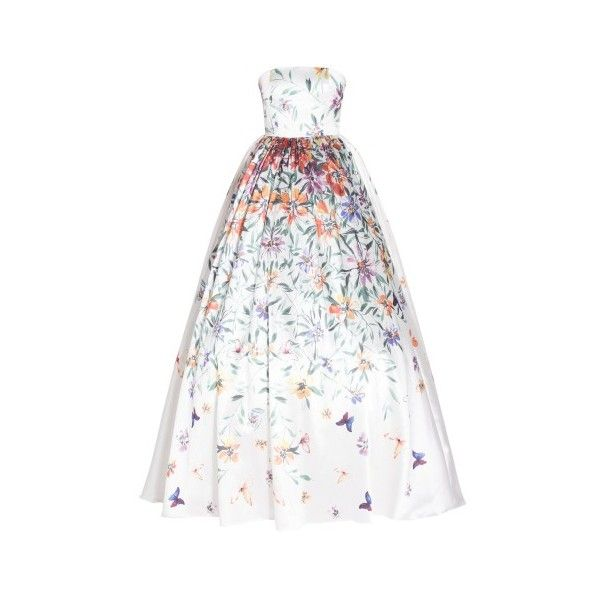 Georges Hobeika Floral Bustier Ball Gown ($9,550) ❤ liked on Polyvore featuring dresses, gowns, white, evening cocktail dresses, evening dresses, white floral dress, floral gown and floral dresses